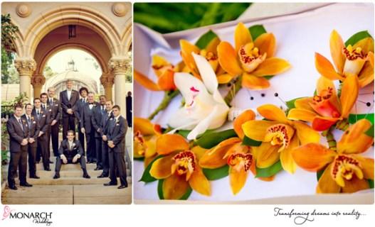 Prado-Balbao-Park-Wedding-Bridal-orange-orchids-tropical-wedding