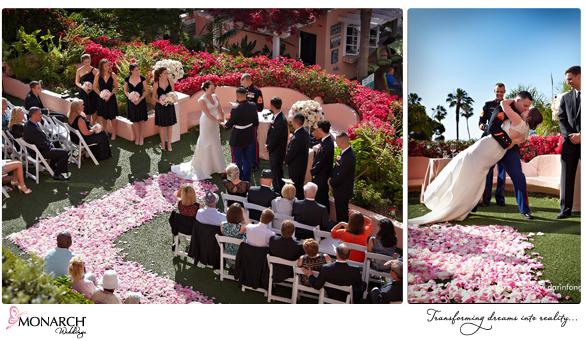 La-Valencia-Hotel-Garden-Ceremony-Kiss-Blush-Pink-Wedding