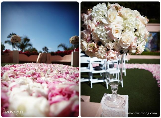 La-Valencia-Hotel-Ceremony-Site-pink-rose-petal-aisle-lace-columns