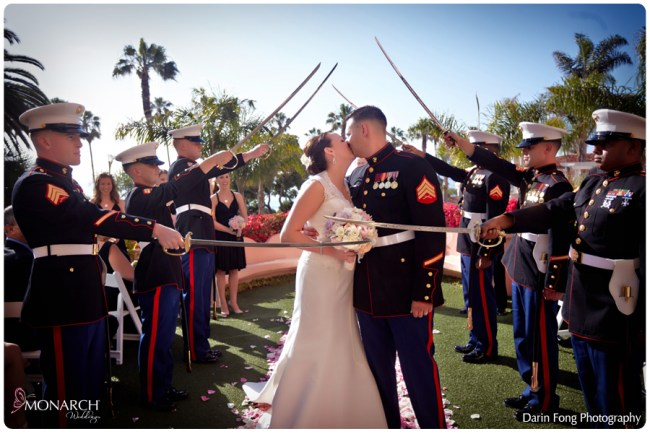 Kiss-Military-sword-arch-at-ceremony-la-valencia-hotel-wedding