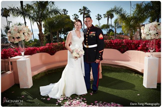 Bride-and-groom-blush-lace-wedding-la-valencia
