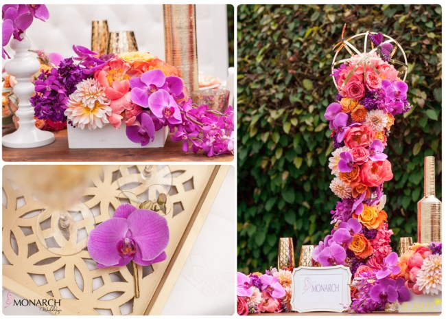 Purple-Phalaenopsis-coral-peonty-vibrant-wedding-colors-modern-wedding