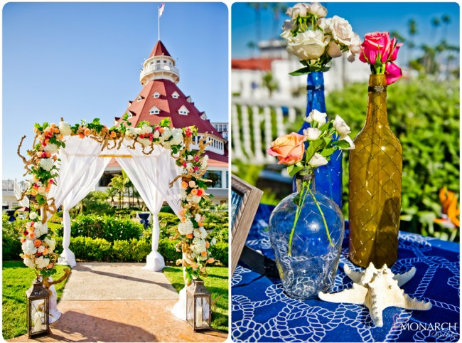 Vintage-nautical-wedding-hotel-del-ceremony-arbor-colored-glass-bottles-fishnet
