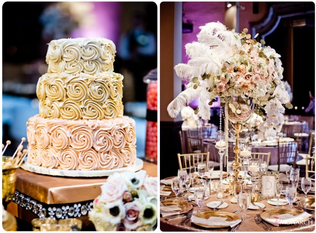 Gatsby-Prado-at-balboa-park-wedding-wedding-cake-larger-centerpiece-feathers