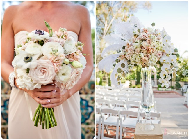 Blush-iovey-anemone-bouquet-feather-centerpiece-prado-balboa-park