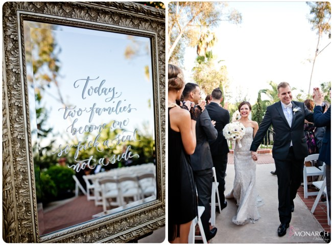 Ceremony-sign-on-mirror-Great-gatsby-prado-balboa-park-wedding