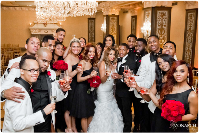 Bridal-party-celebrating-us-grant-hotel-wedding