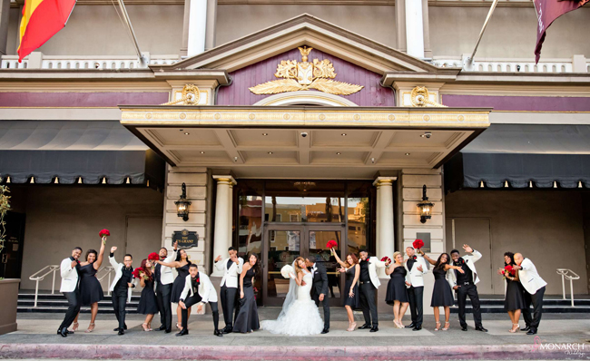 Us-Grant-Hotel-Wedding-Bridal-Party-black-and-red-wedding