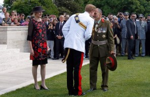 Prince Harry meets His Excellency the Governor General of New Zealand, Rt. Hon. Sir Jeremy Mateparae and his wife Lady Janine Mateparae during the New Zealand commemoration at the Cassino Commonwealth War Cemetery on May 18, 2014 in Monte Cassino, Italy