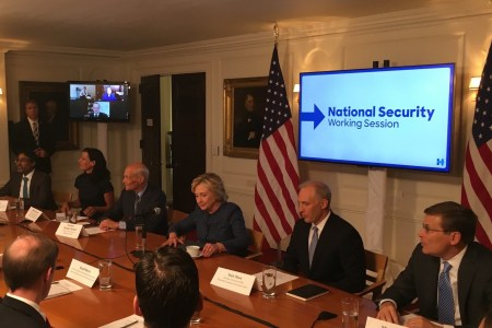 Clinton Meets With Petraeus and Hawkish National Advisors