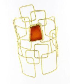 bracciale bronzo resina arancio 01