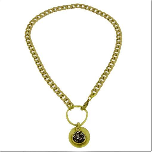 collana bronzo catena pendente black strass opus4 01