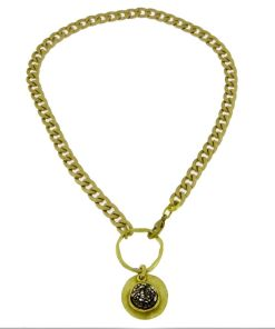 collana bronzo catena pendente black strass opus4 01
