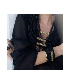 collana bronzo cordoni in tessuto black opus4 03