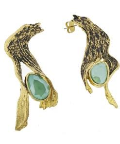 orecchini bronzo ossidato nero cristallo swarovski verde opus4