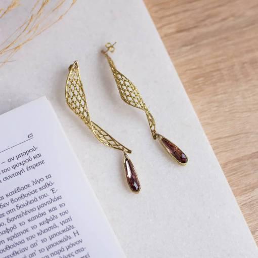 orecchini pendenti bronzo cristallo swarovski rosa opus4 01