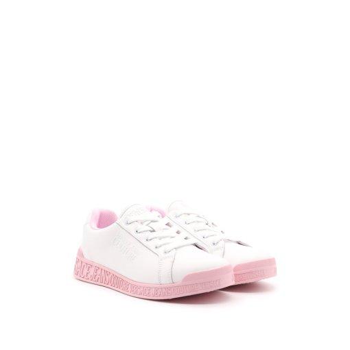 scarpa donna tennis sneaker bianca suola rosa logo versace jeans couture 01