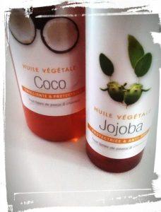 Les ingrédients de la recette du spray wavy maison de monblabladefille avec huile de jojoba et huile de coco