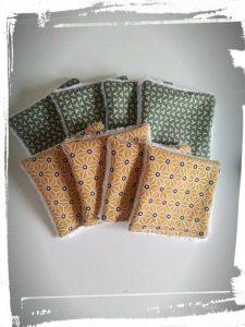 Photo tuto cotons démaquillants réutilisables monblabladefille.com epingles diy couture résultat orange