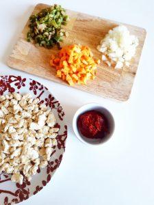 Recette de la sauce bolognaise totalement végétale et vegan protéine sèche de soja monblabladefille.com