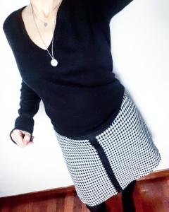 Photo patron de la jupe paula pied de poule jupe trapèze couture mespatronsdefille monblabladefille.com