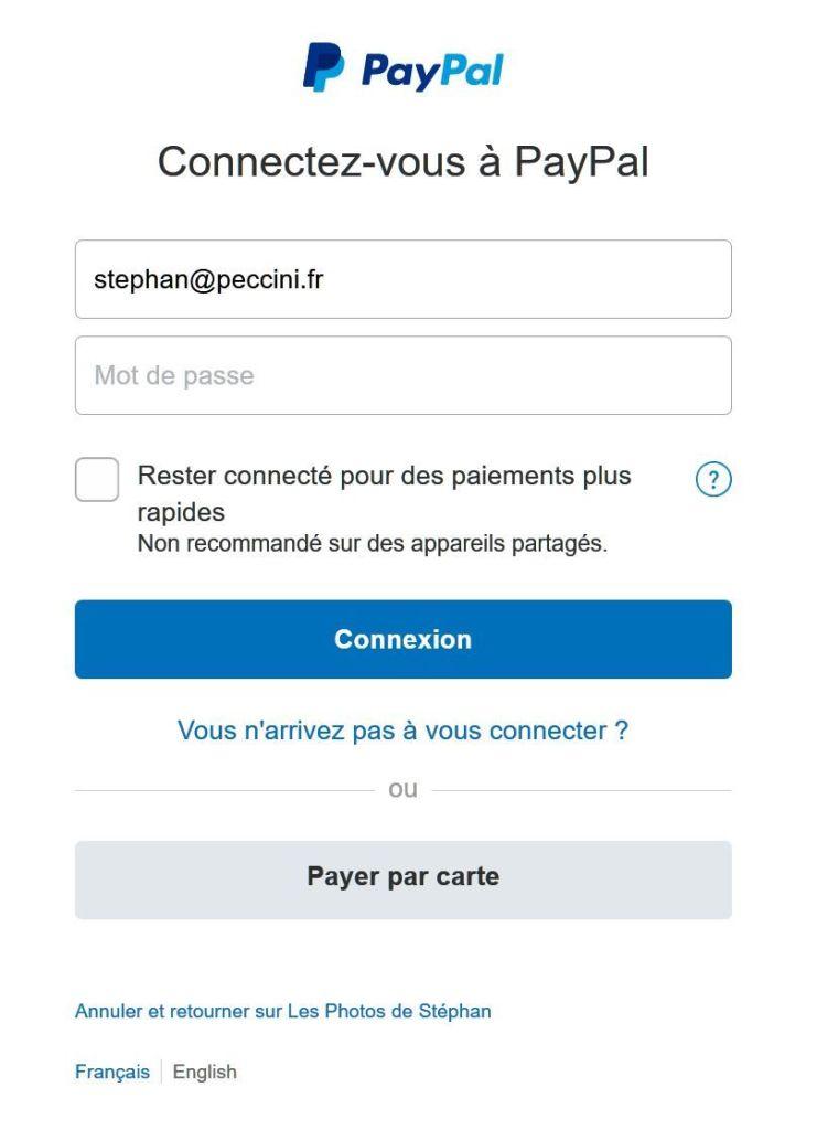 Paiement Paypal avec carte bleue