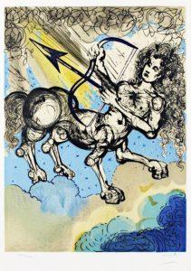 Salvador Dali ; ses peintures des signes du zodiaque : (…) il se situe avant le solstice d'hiver quand, les travaux des champs terminés, les hommes se consacrent davantage à la chasse. Symbole du mouvement, des instincts nomades, de l'indépendance et des réflexes vifs. (cuisses, foie)
