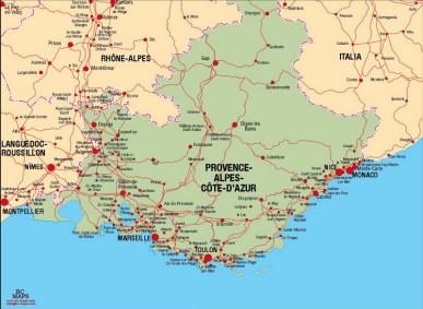 Carte vectoriel de la rŽgion Provence-Alpes-Cote d'Azur format eps