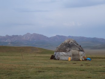 Yurt and mountains