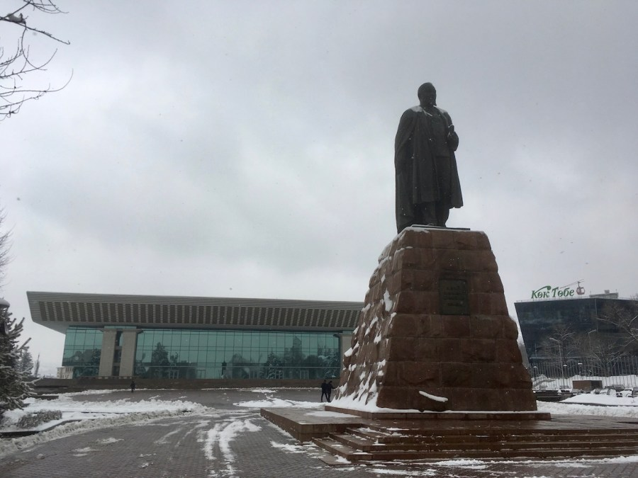 Abay Statue and the Palace in Almaty