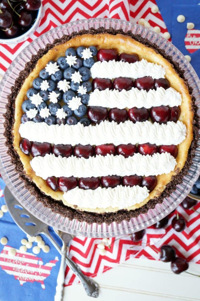 American Flag White Chocolate Cheesecake