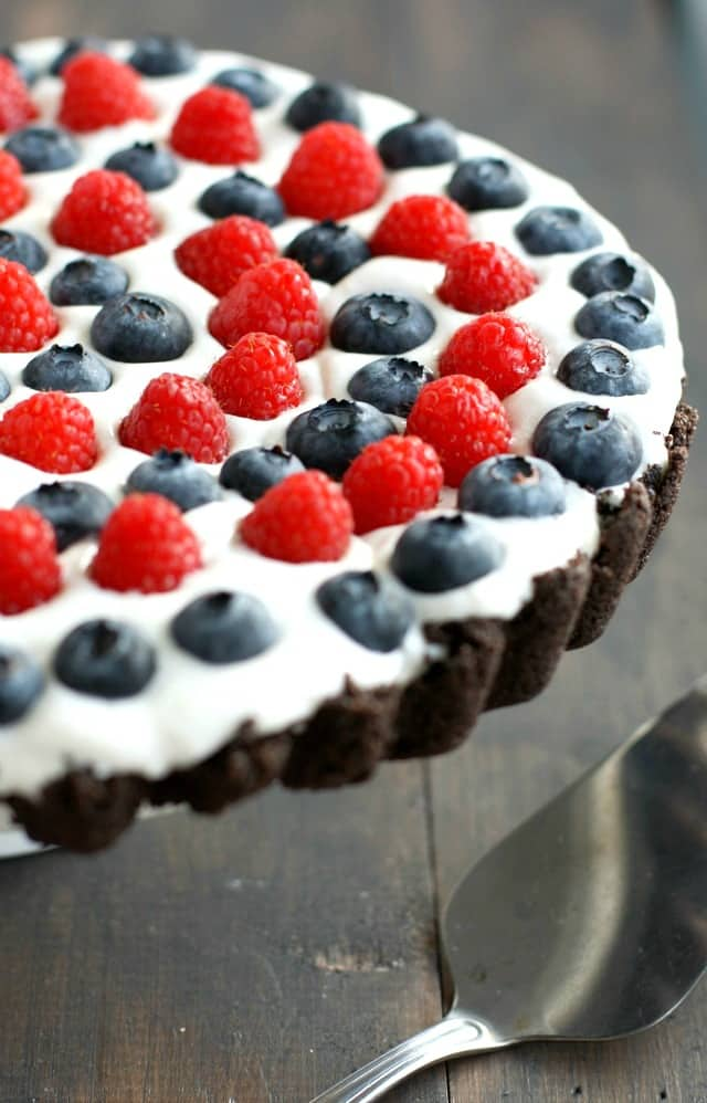 Patriotic Berry Tart with an Oreo Crust