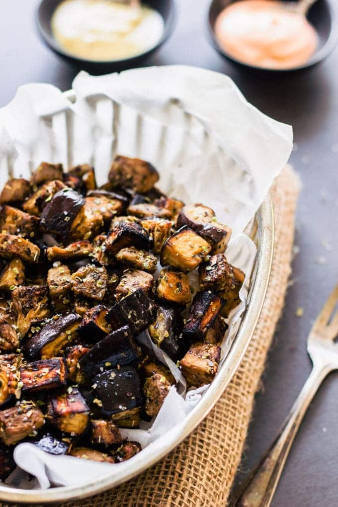 Oven Roasted Eggplant Cubes with Balsamic Vinaigrette