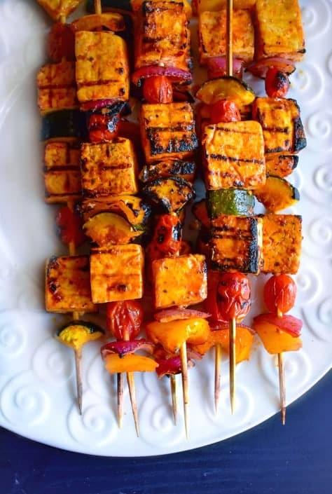 Sweet Spicy Thai Basil Tofu Skewers