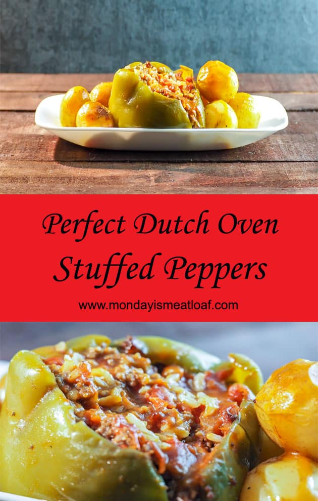 Perfect Dutch Oven Stuffed Green Peppers - An easy recipe for stuffed green peppers that is loaded with flavor and cheesy goodness! A wonderful comfort food dinner that I love to make for my family. This is perfect for potlucks, and makes a great meal to have a weeknight dinner with the leftovers later in the week! A great main course dinner! #comfortfood #stuffedgreenpeppers #foodporn #potluck #dinner