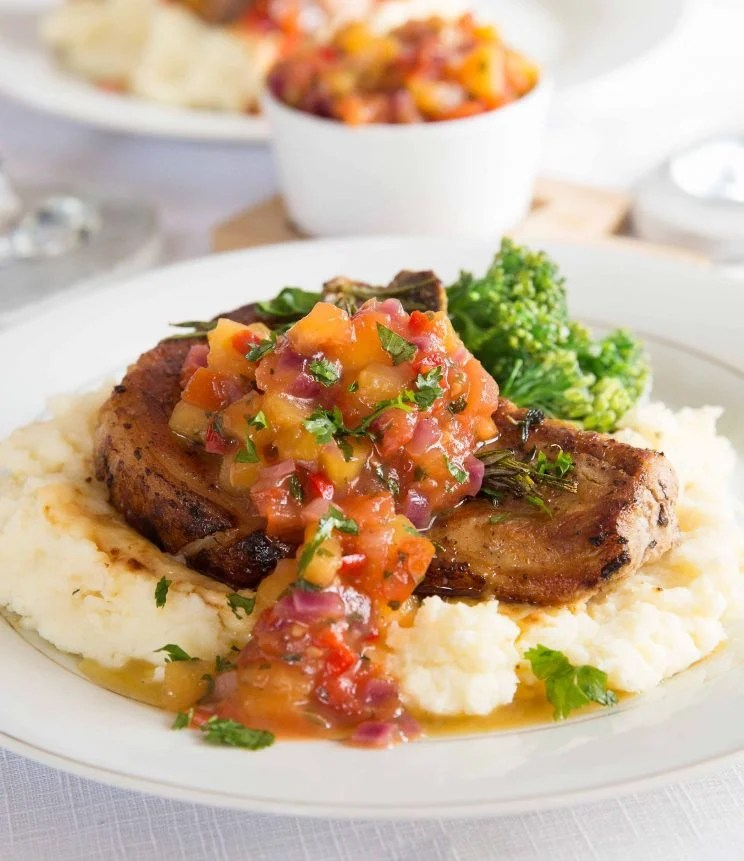 Easy Pan Fried Pork Chops With Peach Salsa