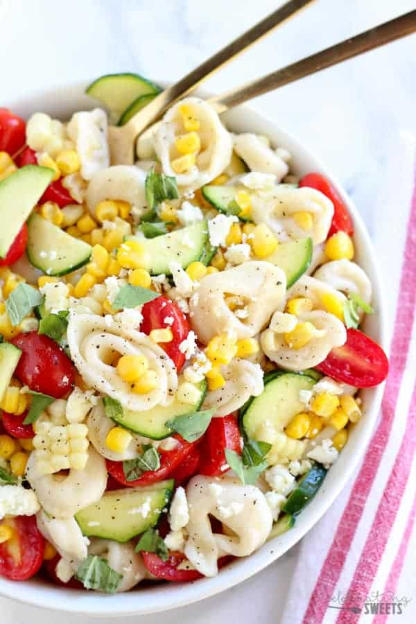 summer corn, tomato, and tortellin salad