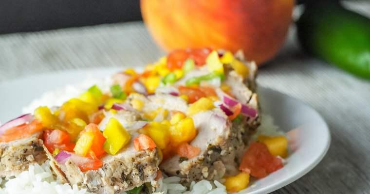 1905 Inspired Pork Tenderloin with Fresh Mango Peach Salsa (Instant Pot, Oven, or Grill)