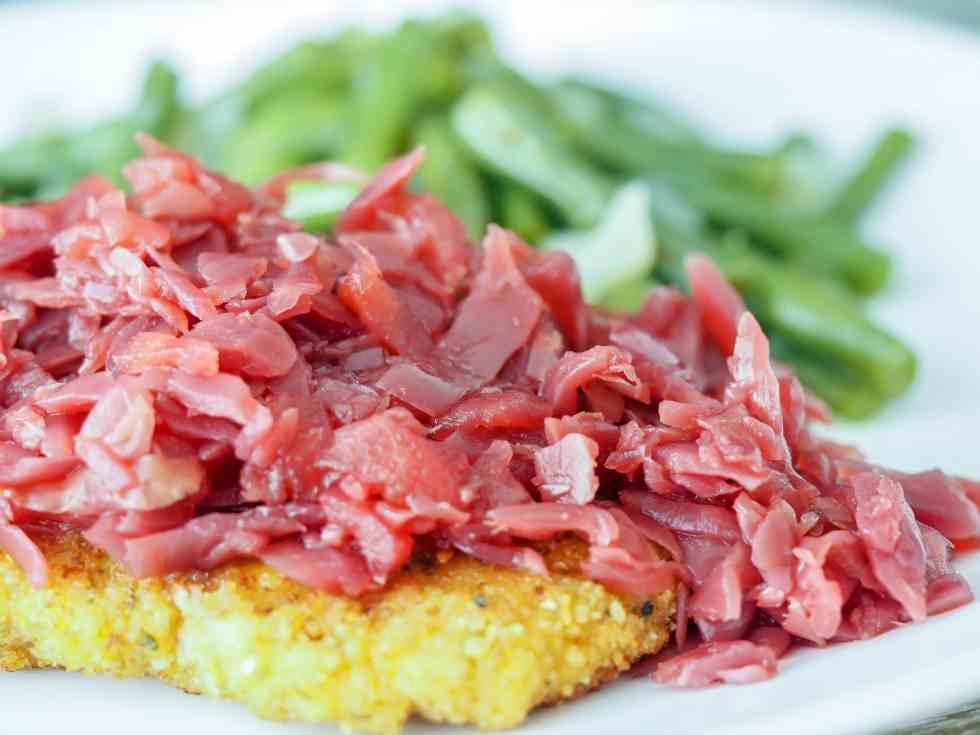 pork schnitzel with red cabbage