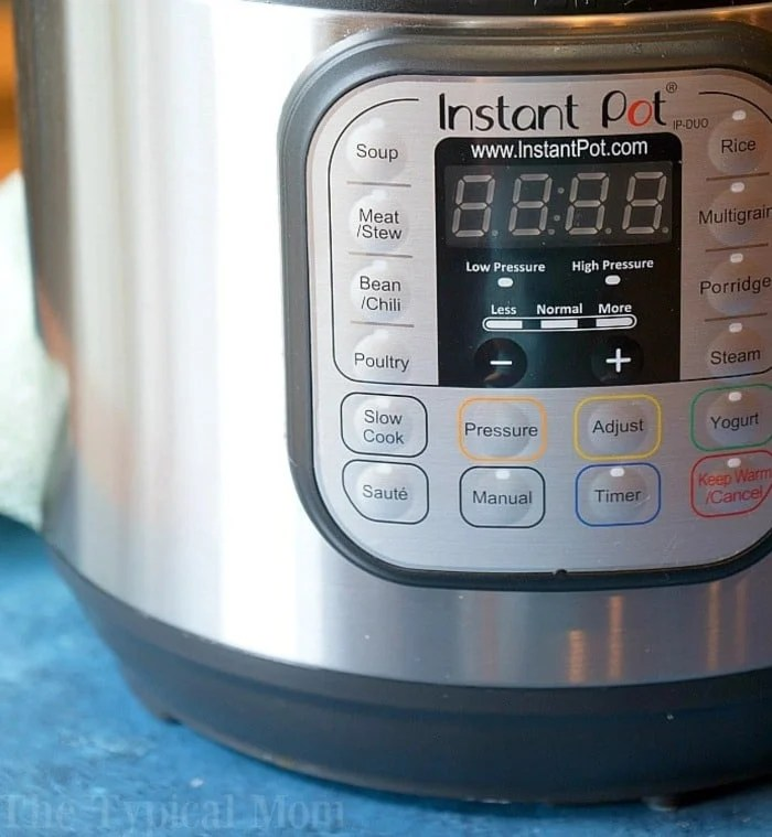 close-up of an instant pot on a blue table