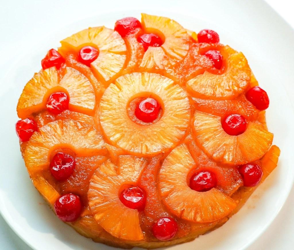 Overhead shot of pineapple upside down cake