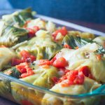 side view of cabbage rolls in 9 x 13 casserole dish