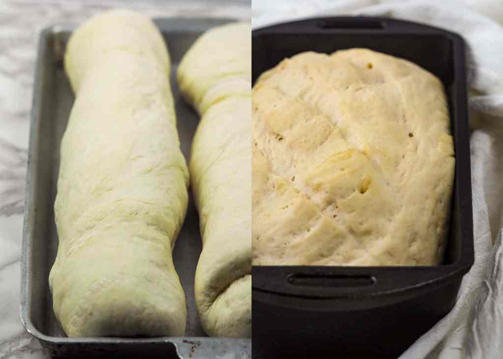 side by side view of risen bread dough with cast iron bread pan on right and long baguettes on baking sheet on left