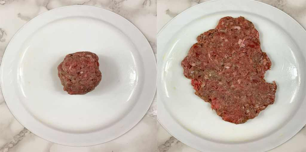 side by side shot of ball of ground beef on top of bottom of plate on left and smashed burger patty on righ