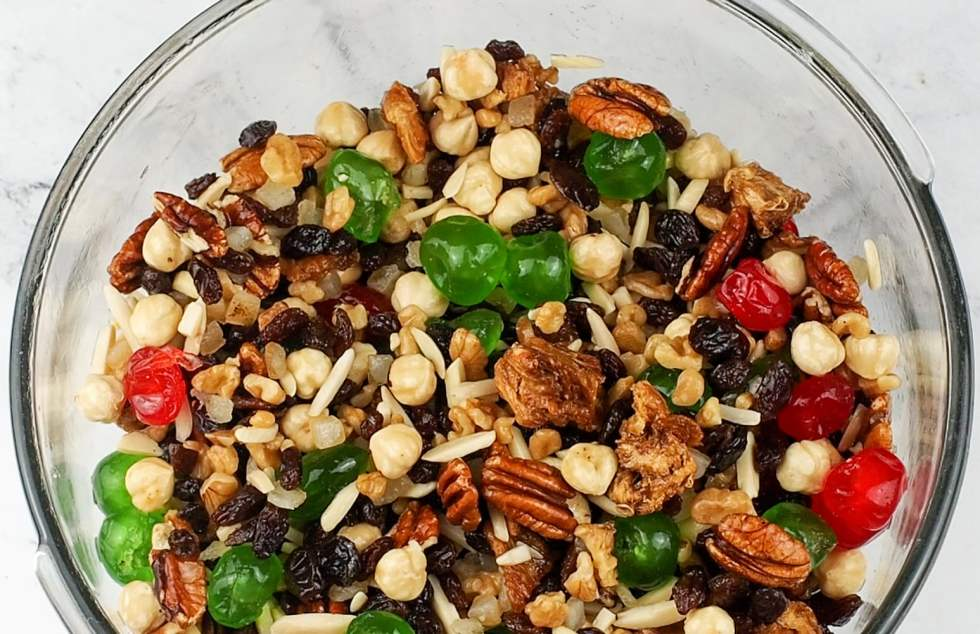 dried nuts and fruit in a bowl