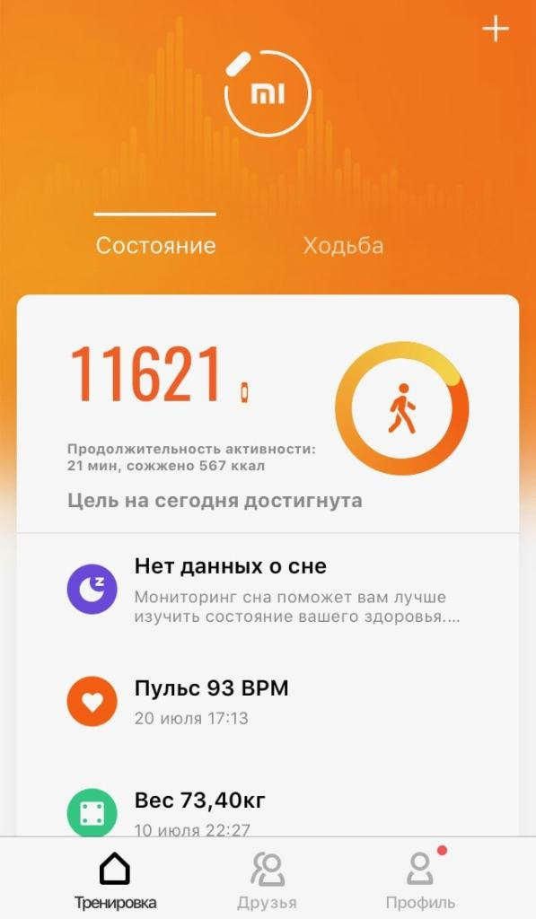 Обновлённое приложение Mi Fit