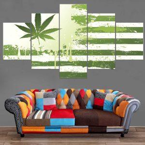 Décoration Murale Drapeau Feuille Weed