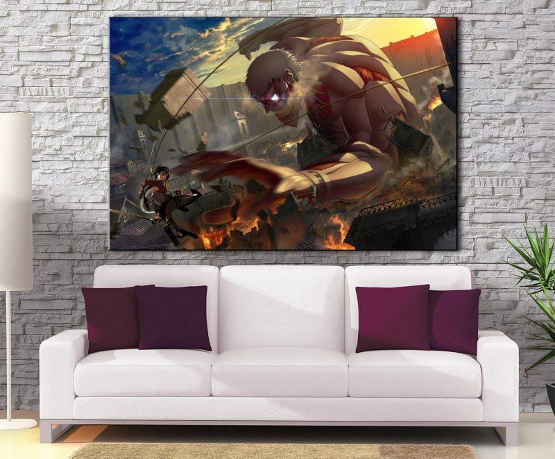 Décoration Murale L'attaque des Titans Mikasa Vs Armored Titan