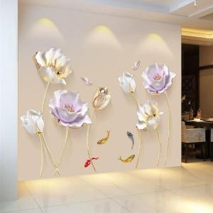 Sticker Mural Fleurs en 3D