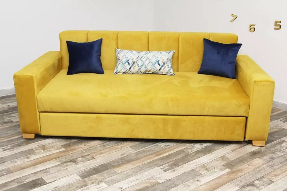 canape convertible en tissu jaune linda